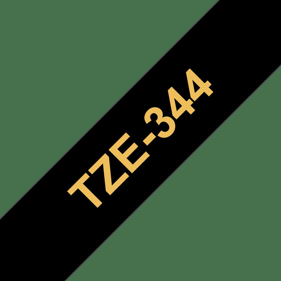 Alkuperäinen Brother TZe344 -tarranauha – kultainen teksti mustalla pohjalla, leveys 18 mm 3