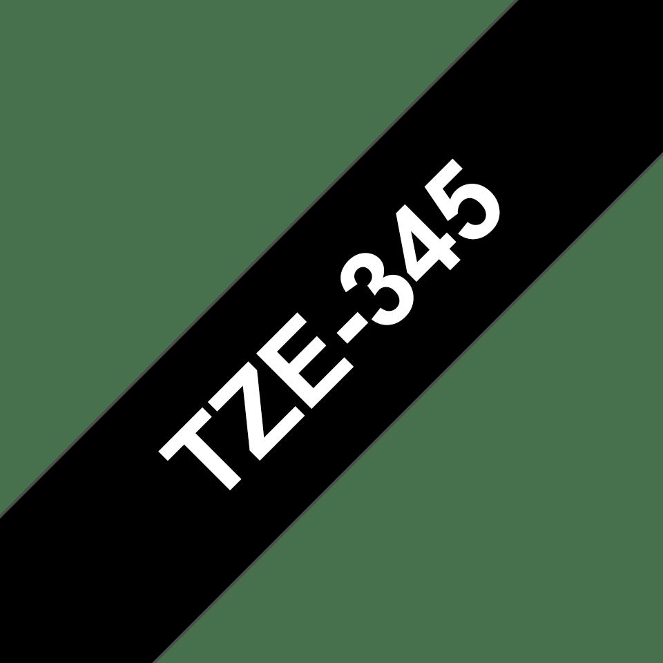 Alkuperäinen Brother TZe345 -tarranauha – valkoinen teksti mustalla pohjalla, leveys 18 mm 3