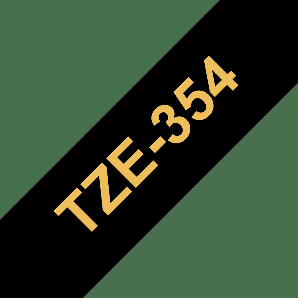 Alkuperäinen Brother TZe354 -tarranauha - kullanvärinen teksti mustalla pohjalla, 24 mm