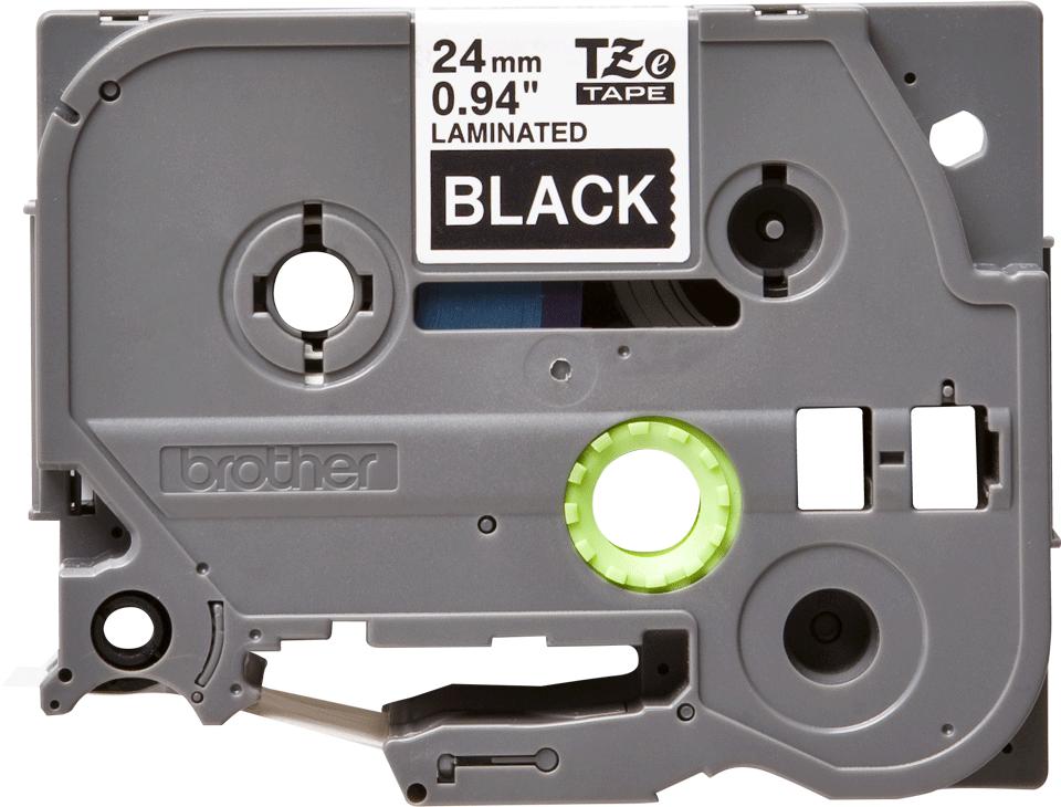 Alkuperäinen Brother TZe355 -tarranauha – valkoinen teksti mustalla pohjalla, leveys 24 mm