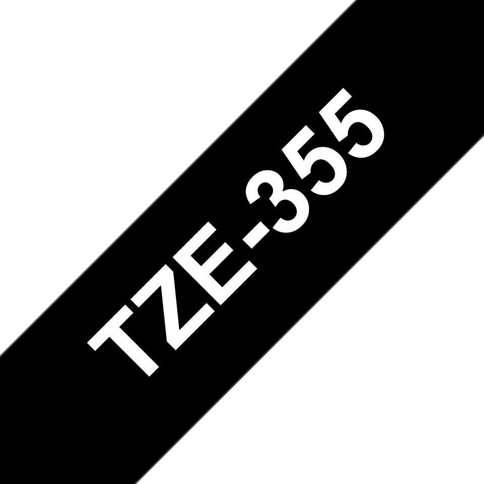 Alkuperäinen Brother TZe355 -tarranauha – valkoinen teksti mustalla pohjalla, leveys 24 mm 3