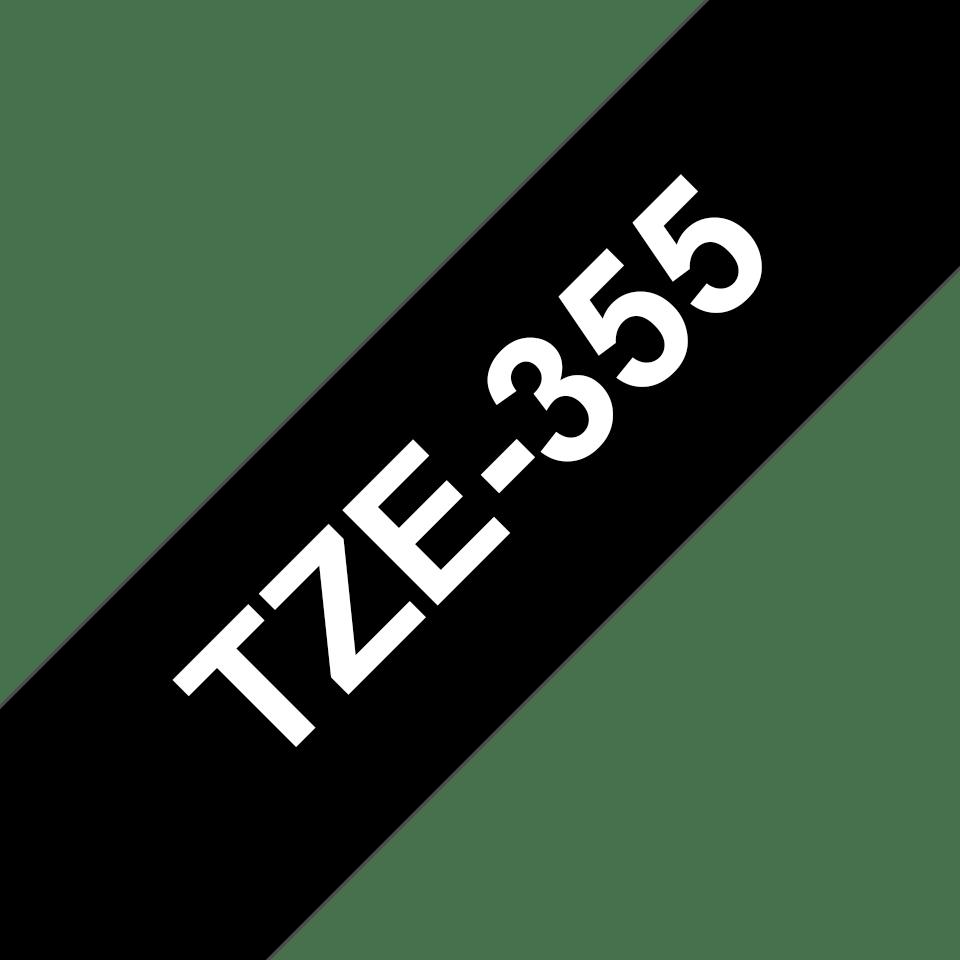 Alkuperäinen Brother TZe355 -tarranauha – valkoinen teksti mustalla pohjalla, 24 mm