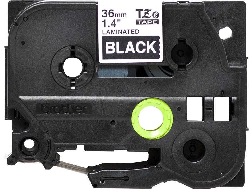 Alkuperäinen Brother TZe365 -tarranauha – valkoinen teksti mustalla pohjalla, 36 mm 2