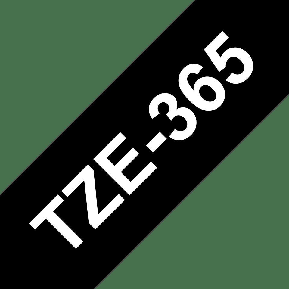 Alkuperäinen Brother TZe365 -tarranauha – valkoinen teksti mustalla pohjalla, 36 mm