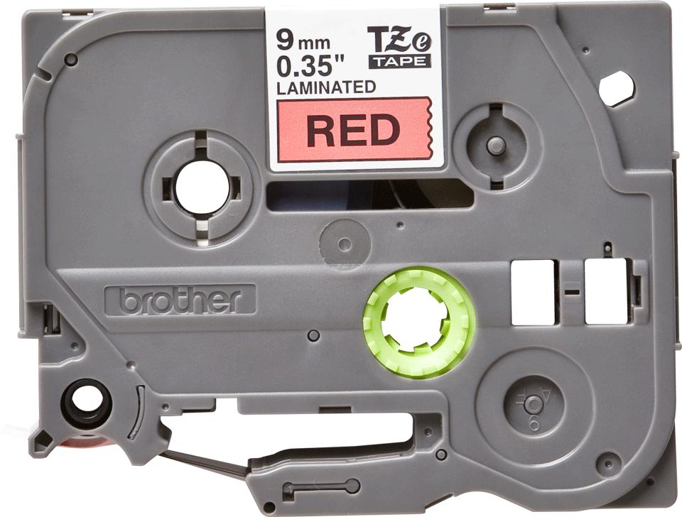 Brother TZe421 -tarranauha, musta teksti punaisella pohjalla – leveys 9 mm