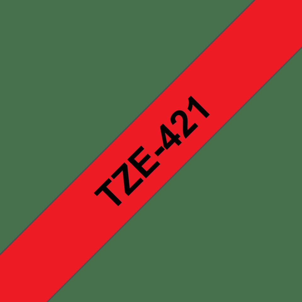 Alkuperäinen Brother TZe421 -tarranauha – musta teksti punaisella pohjalla, 9 mm