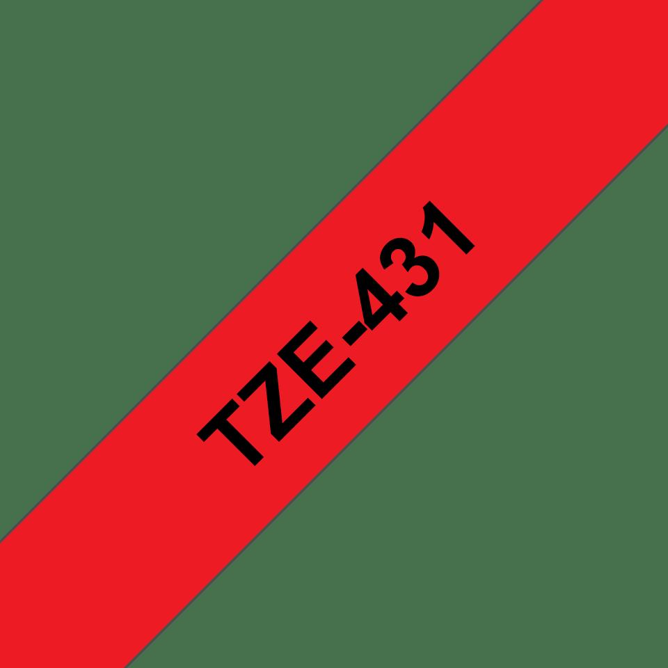 Alkuperäinen Brother TZe431 -tarranauha – musta teksti punaisella pohjalla, 12 mm 3