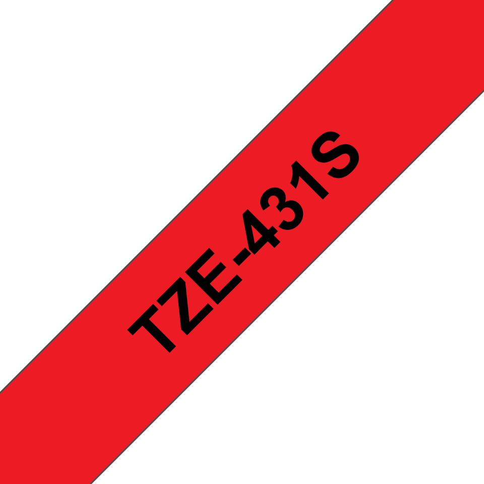 Genuine Brother TZe-431S Labelling Tape Cassette – Black on Red, 12mm wide 3