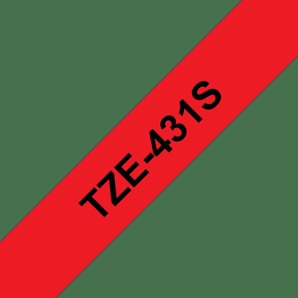 Alkuperäinen Brother TZe431S -tarranauha - musta teksti punaisella pohjalla, 12 mm
