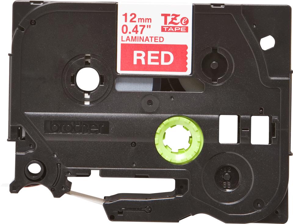 Alkuperäinen Brother TZe435 -tarranauha - valkoinen teksti punaisella pohjalla, 12 mm 2
