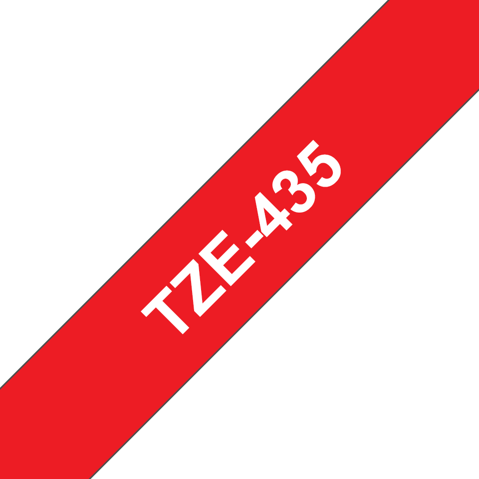 Alkuperäinen Brother TZe435 -tarranauha - valkoinen teksti punaisella pohjalla, 12 mm