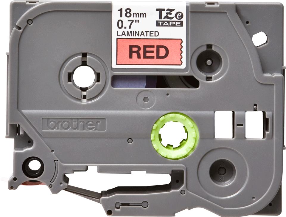 Alkuperäinen Brother TZe441 -tarranauha – musta teksti punaisella pohjalla, leveys 18 mm