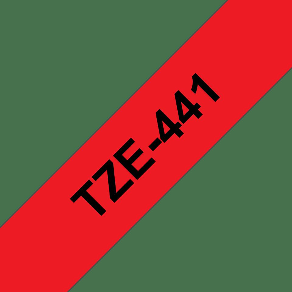 Alkuperäinen Brother TZe441 -tarranauha – musta teksti punaisella pohjalla, leveys 18 mm 3