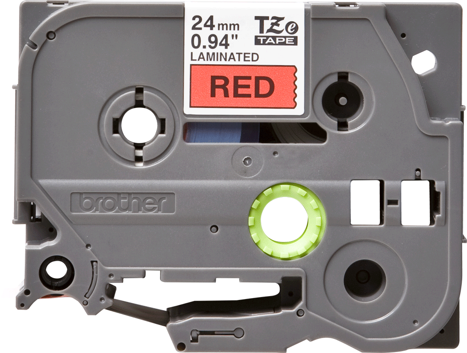 Alkuperäinen Brother TZe451 -tarranauha – musta teksti punaisella pohjalla, leveys 24 mm