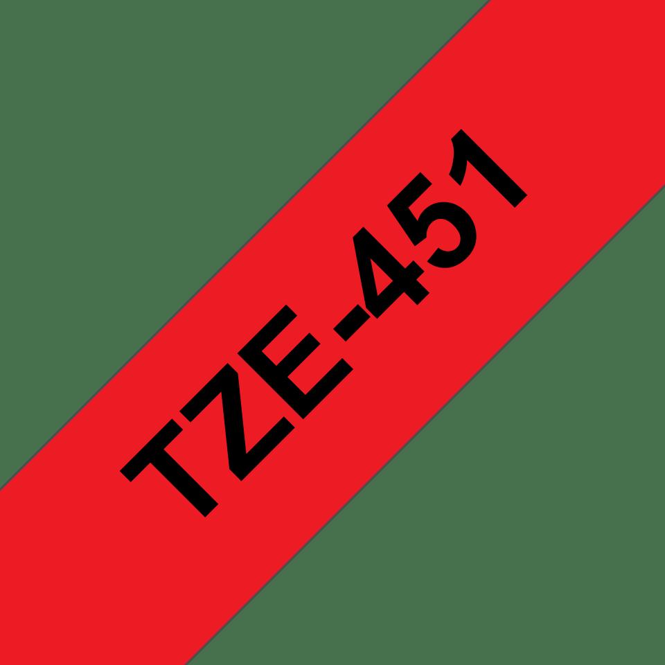 Alkuperäinen Brother TZe451 -tarranauha – musta teksti punaisella pohjalla, leveys 24 mm 3