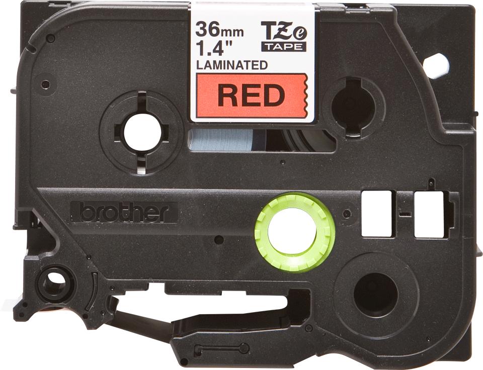 Alkuperäinen Brother TZe461 -tarranauha – musta teksti punaisella pohjalla, leveys 36 mm