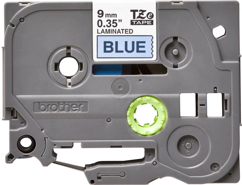 Brother TZe521 -tarranauha – musta teksti sinisellä pohjalla, leveys 9 mm