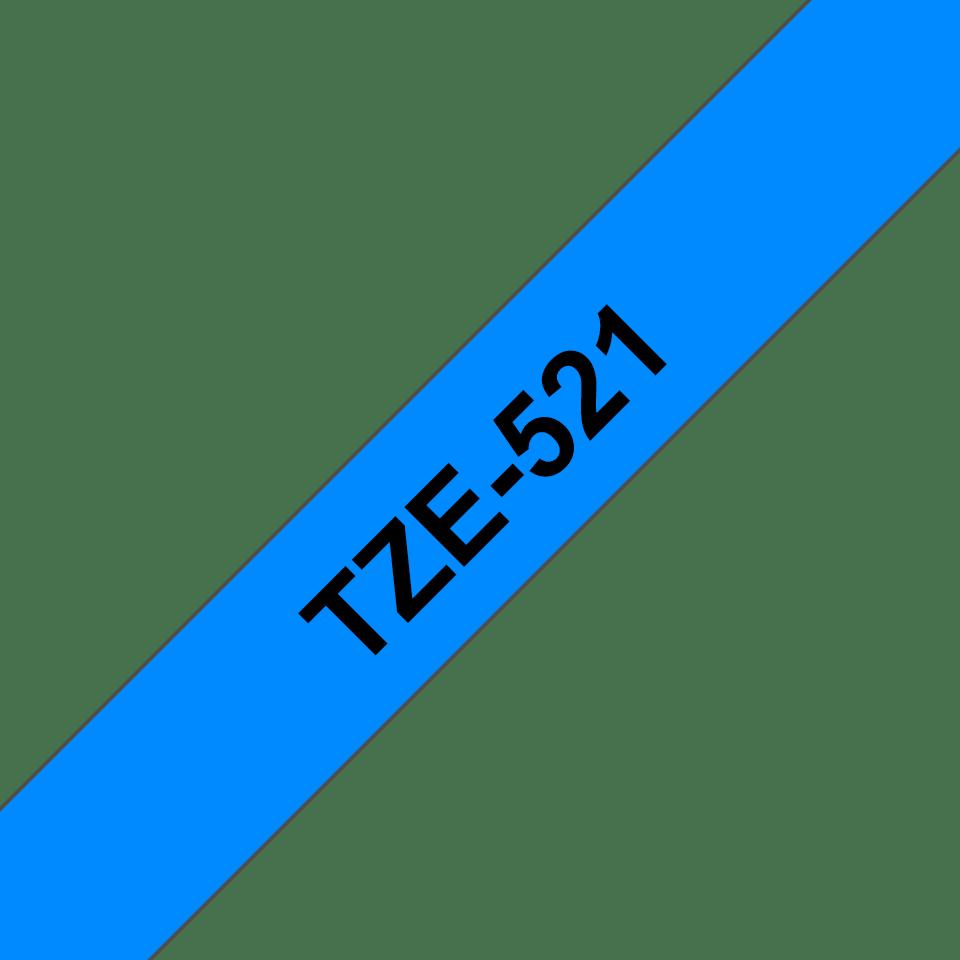 Brother TZe521 -tarranauha – musta teksti sinisellä pohjalla, leveys 9 mm 3