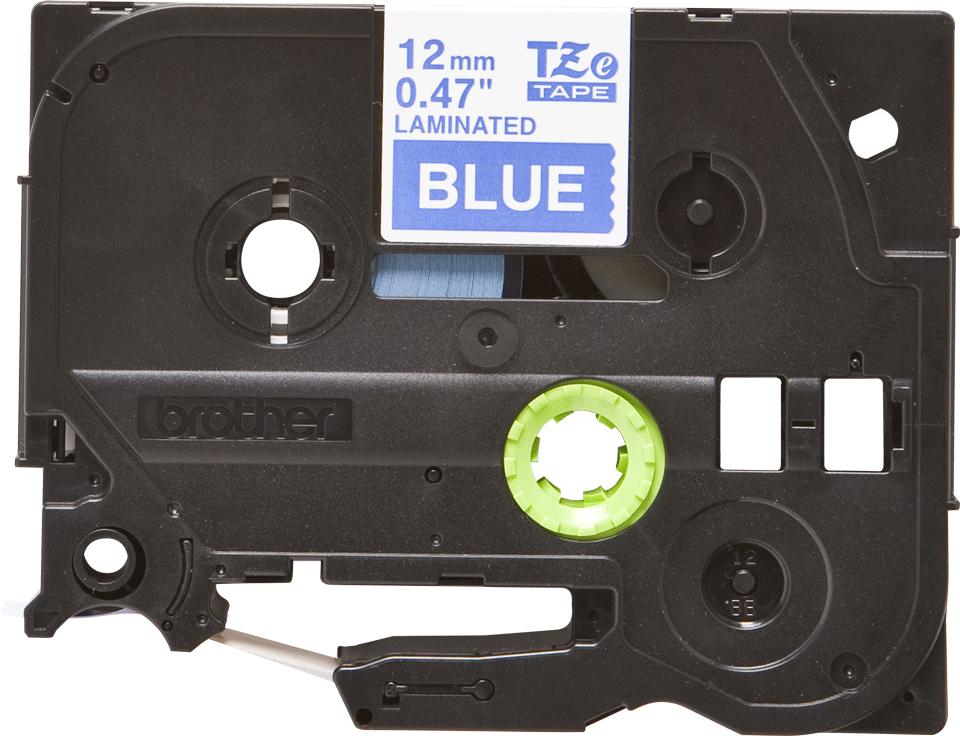 Brother TZe535 -tarranauha – valkoinen teksti sinisellä pohjalla, leveys 12 mm