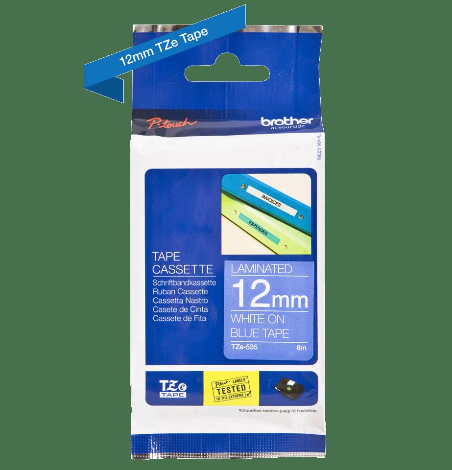 Brother TZe535 -tarranauha – valkoinen teksti sinisellä pohjalla, leveys 12 mm 2