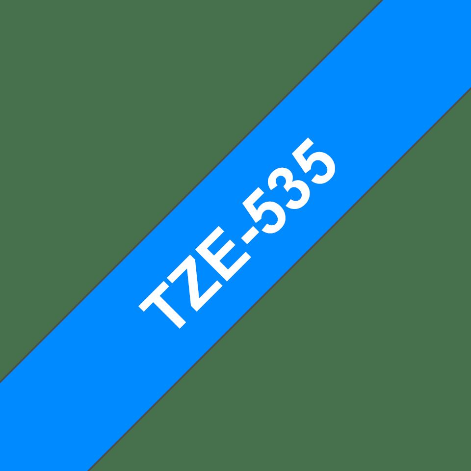 Brother TZe535 -tarranauha – valkoinen teksti sinisellä pohjalla, leveys 12 mm 3