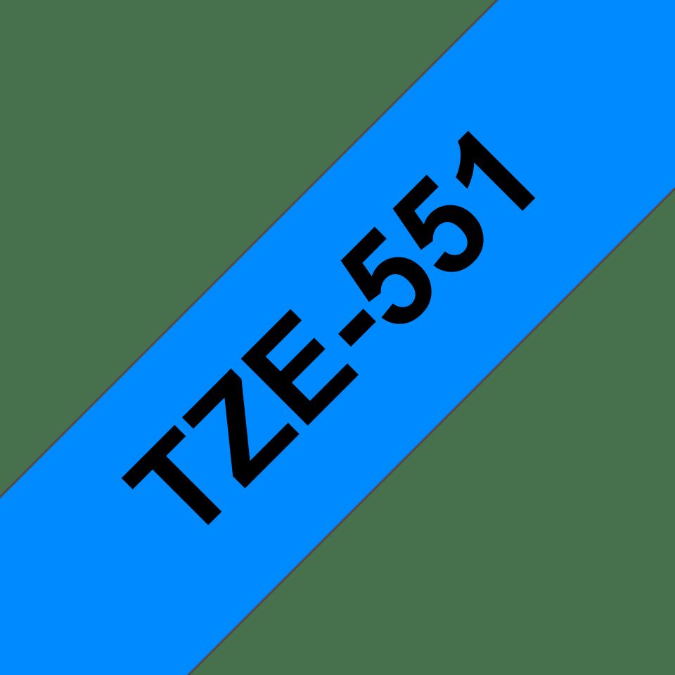 Alkuperäinen Brother TZe551 -tarranauha – musta teksti sinisellä pohjalla, leveys 24 mm 3