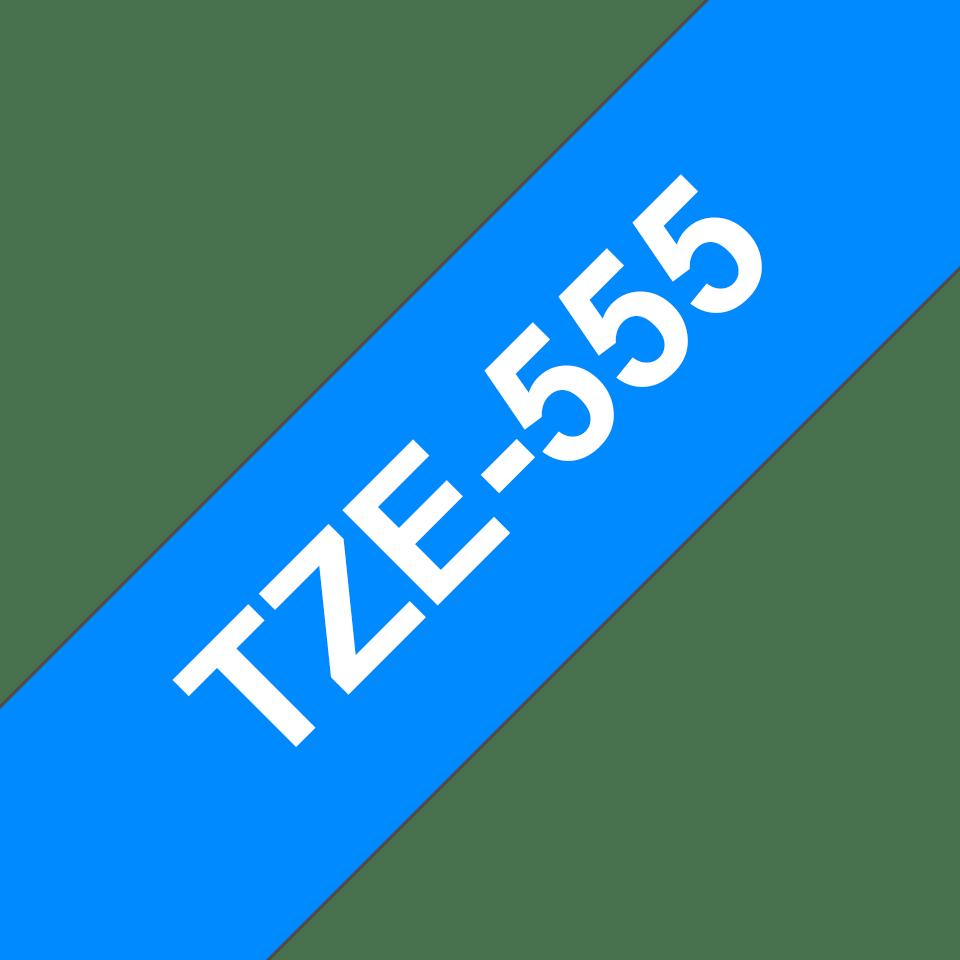Alkuperäinen Brother TZe555 -tarranauha – valkoinen teksti sinisellä pohjalla, leveys 24 mm 3