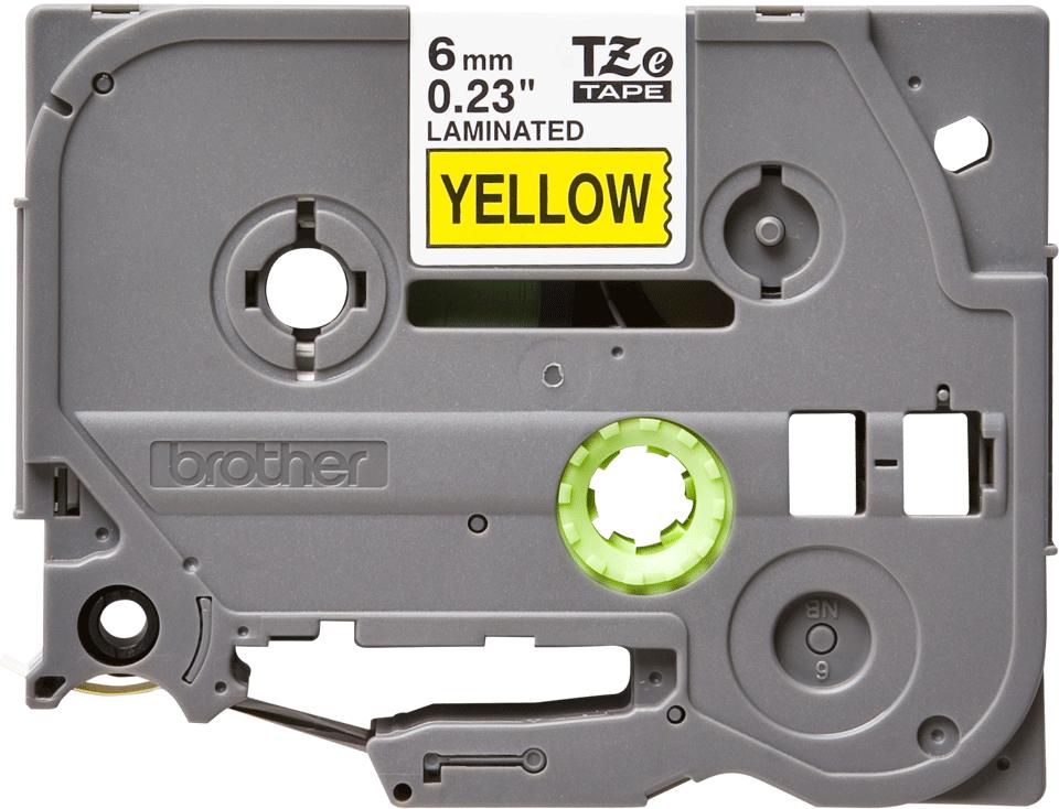 Alkuperäinen Brother TZe611 -tarranauha – musta teksti keltaisella pohjalla, 6 mm 2