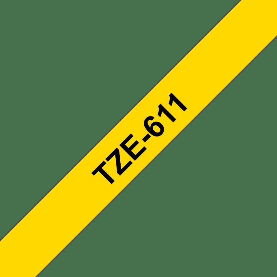 Alkuperäinen Brother TZe611 -tarranauha – musta teksti keltaisella pohjalla, 6 mm