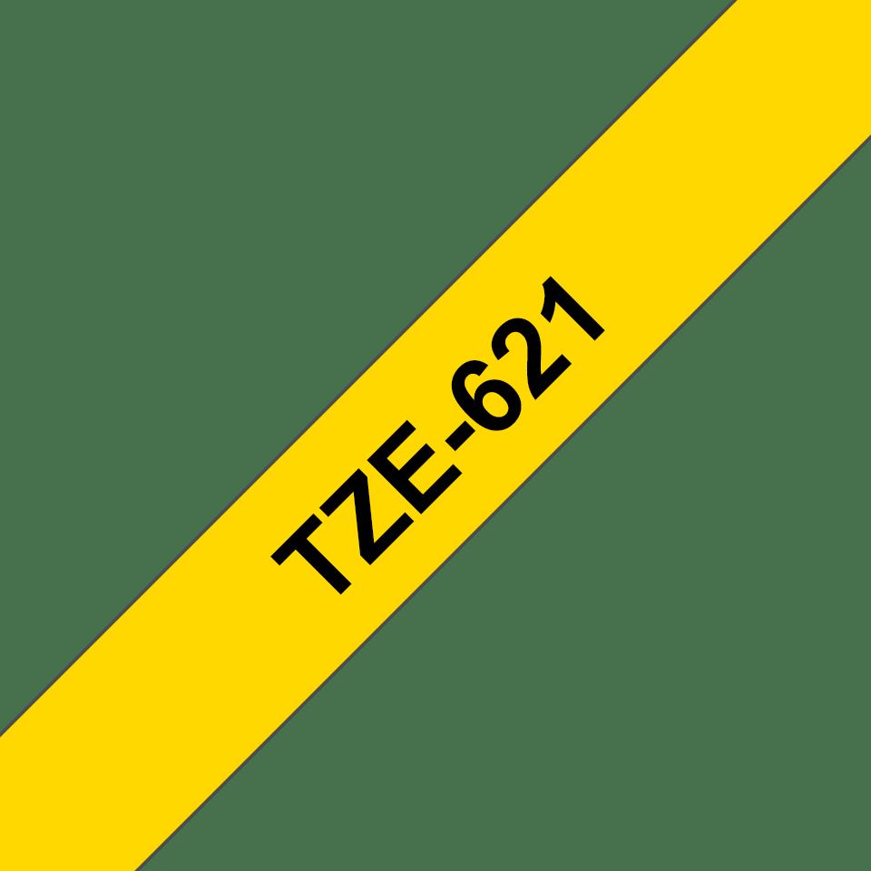 Alkuperäinen Brother TZe621 -tarranauha - musta teksti keltaisella pohjalla - leveys 9 mm 3