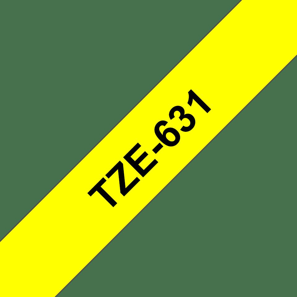 Alkuperäinen Brother TZe631 -tarranauha – musta teksti keltaisella pohjalla, 12 mm