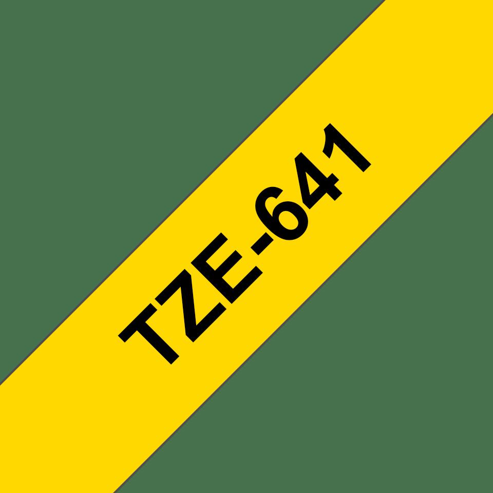 Alkuperäinen Brother TZe641 -tarranauha – musta teksti keltaisella pohjalla, 18 mm  3