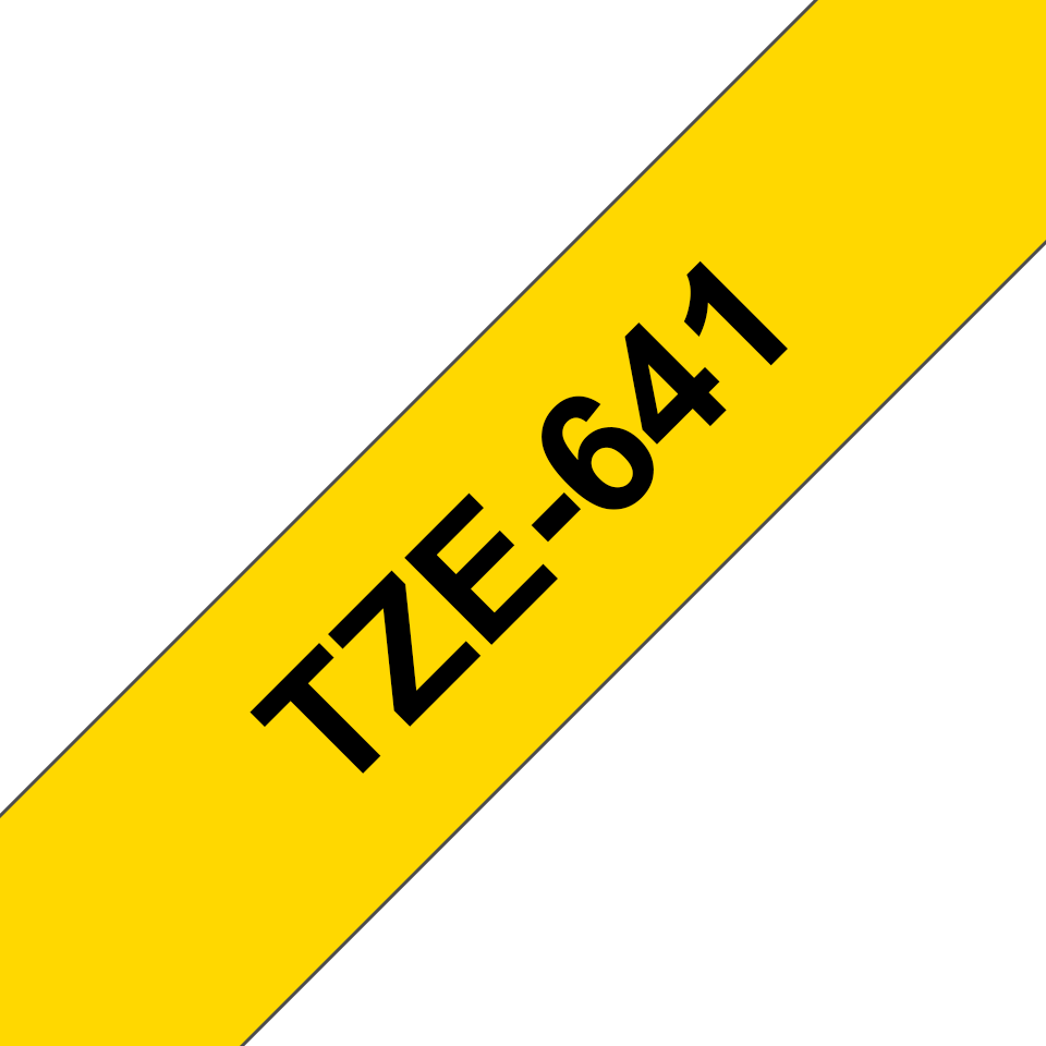 Alkuperäinen Brother TZe641 -tarranauha – musta teksti keltaisella pohjalla, 18 mm
