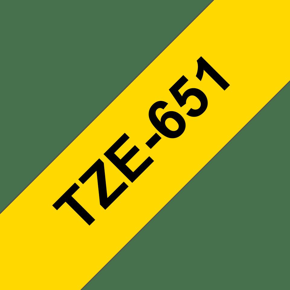 Alkuperäinen Brother TZe651 -tarranauha, musta teksti keltaisella pohjalla – leveys 24 mm 3