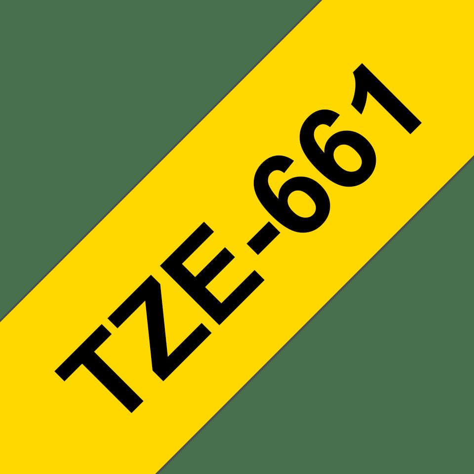 Alkuperäinen Brother TZe661 -tarranauha – musta teksti keltaisella pohjalla, leveys 36 mm 3