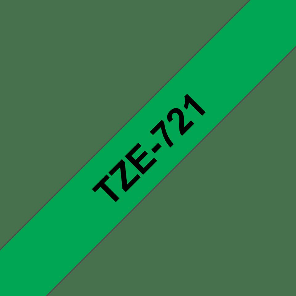 Alkuperäinen Brother TZe721 -tarranauha – musta teksti vihreällä pohjalla, 9 mm