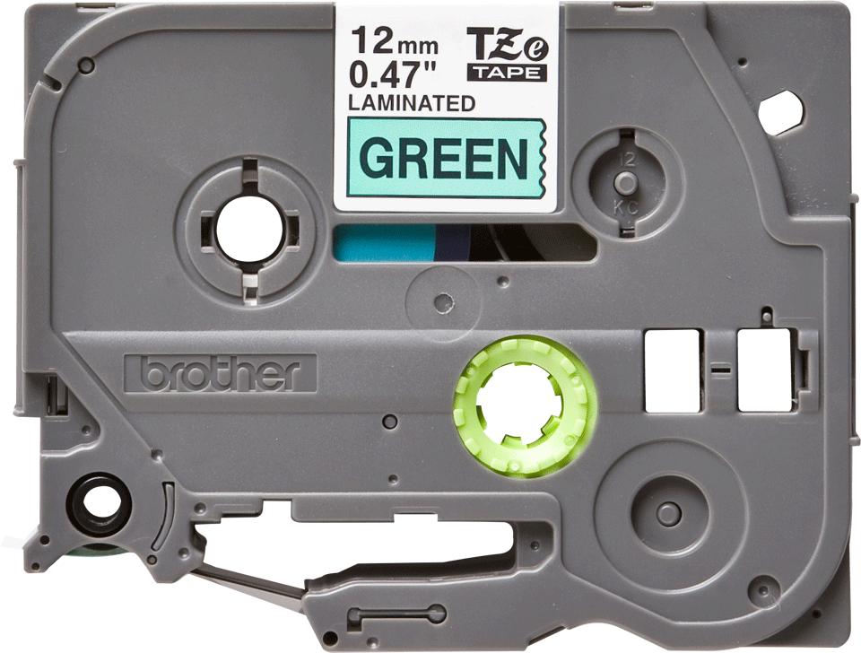 Brother TZe731 -tarranauha, musta teksti vihreällä pohjalla – leveys 12 mm