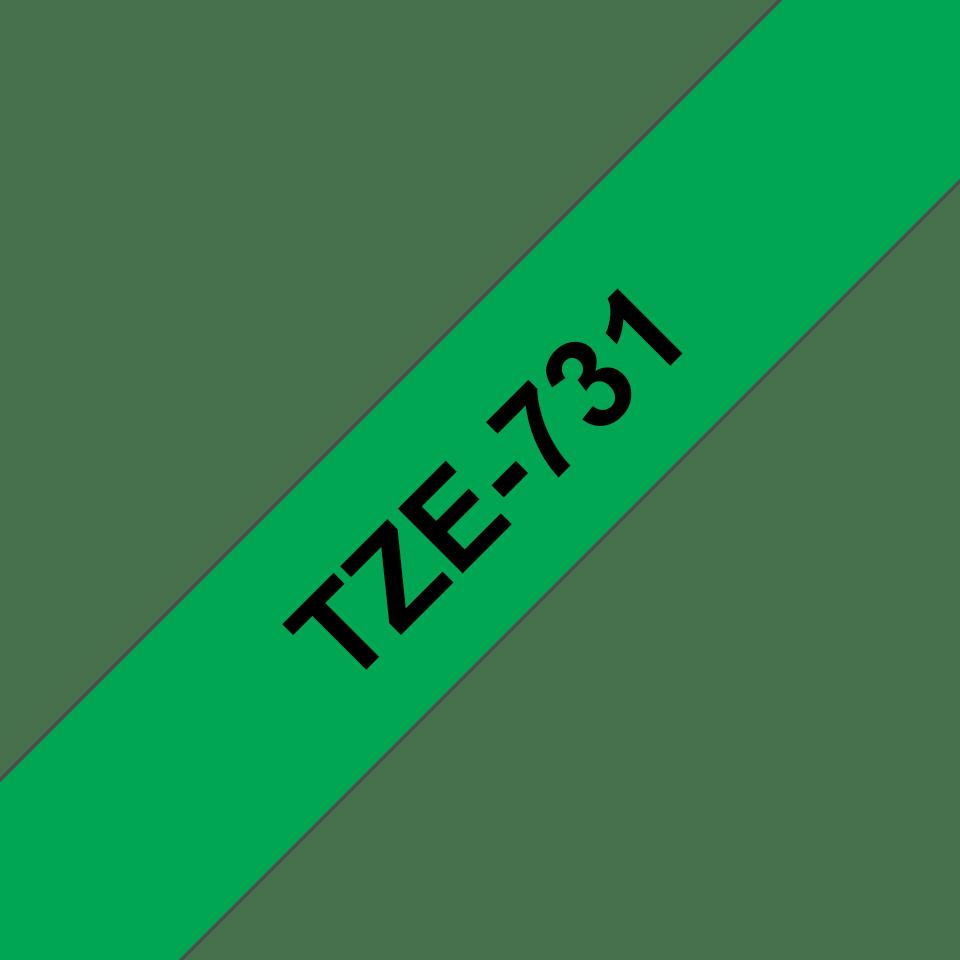 Alkuperäinen Brother TZe731 -tarranauha – musta teksti vihreällä pohjalla, 12 mm