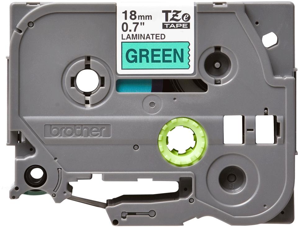 Alkuperäinen Brother TZe741 -tarranauha – musta teksti vihreällä pohjalla, leveys 18 mm
