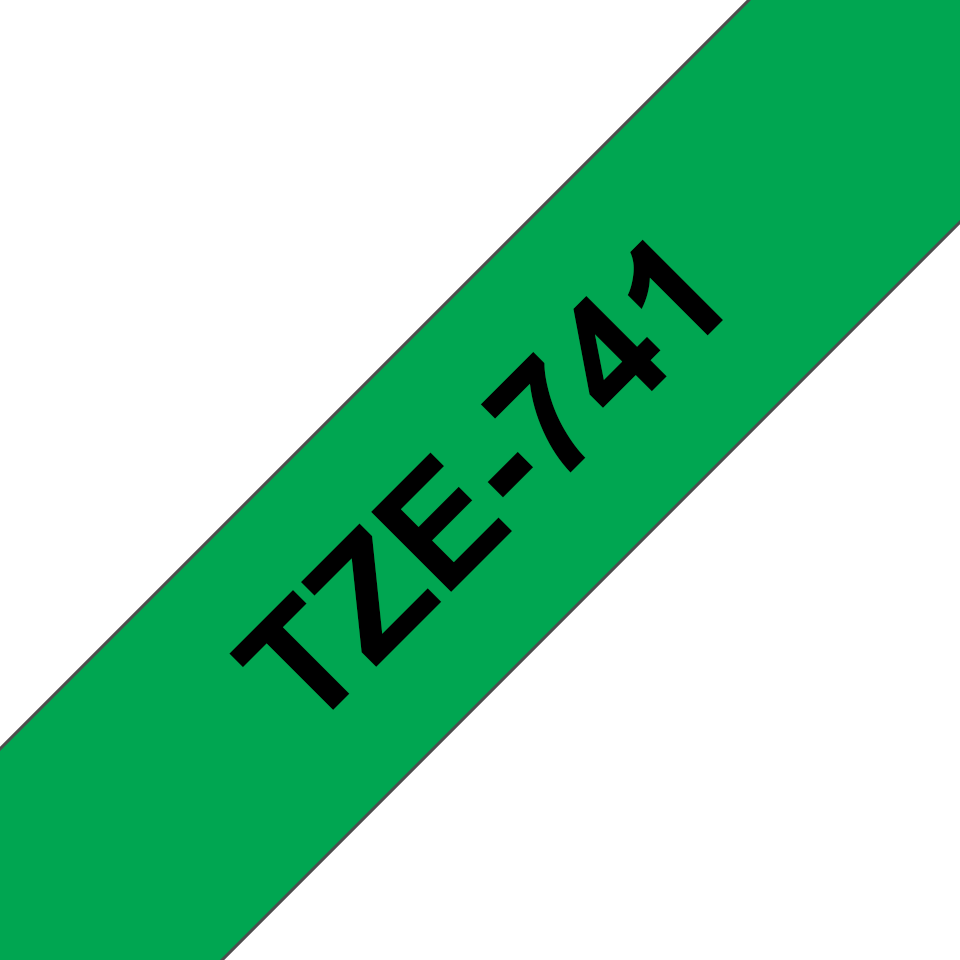 Alkuperäinen Brother TZe741 -tarranauha – musta teksti vihreällä pohjalla, leveys 18 mm 3