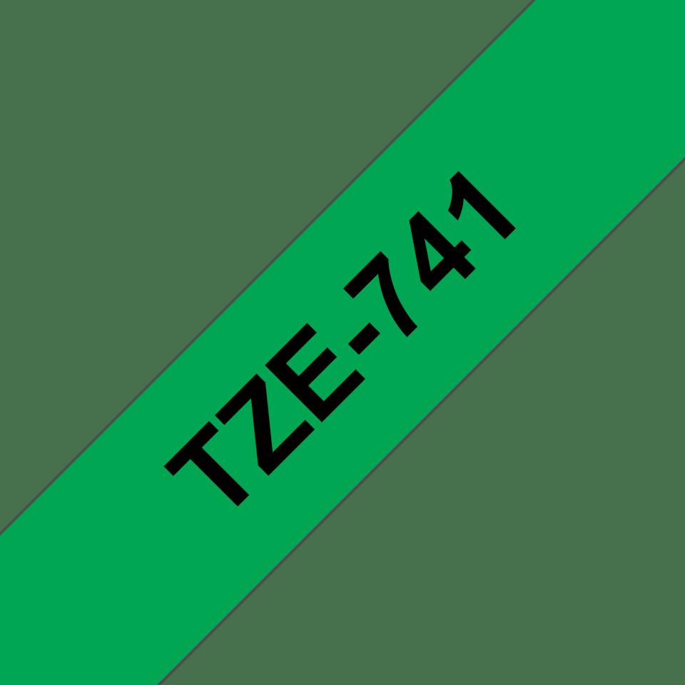 Alkuperäinen Brother TZe741 -tarranauha – musta teksti vihreällä pohjalla, 18 mm