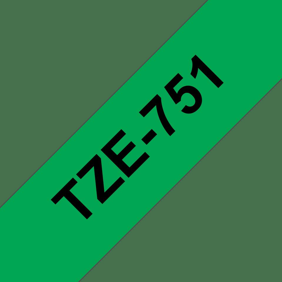 Alkuperäinen Brother TZe751 -tarranauha – musta teksti vihreällä pohjalla, leveys 24 mm 3