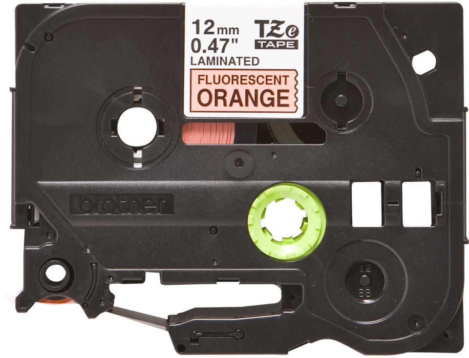 Alkuperäinen Brother TZe-B31 tarranauha, musta teksti ja neon oranssi pohja, leveys 12 mm