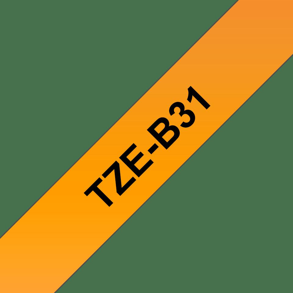 Alkuperäinen Brother TZe-B31 tarranauha, musta teksti ja neon oranssi pohja, leveys 12 mm 3