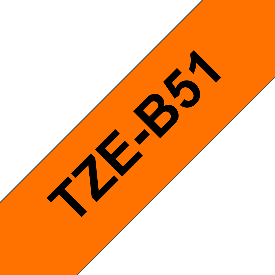 Alkuperäinen Brother TZeB51 -tarranauha – neonoranssi pohjaväri, leveys 24 mm 3