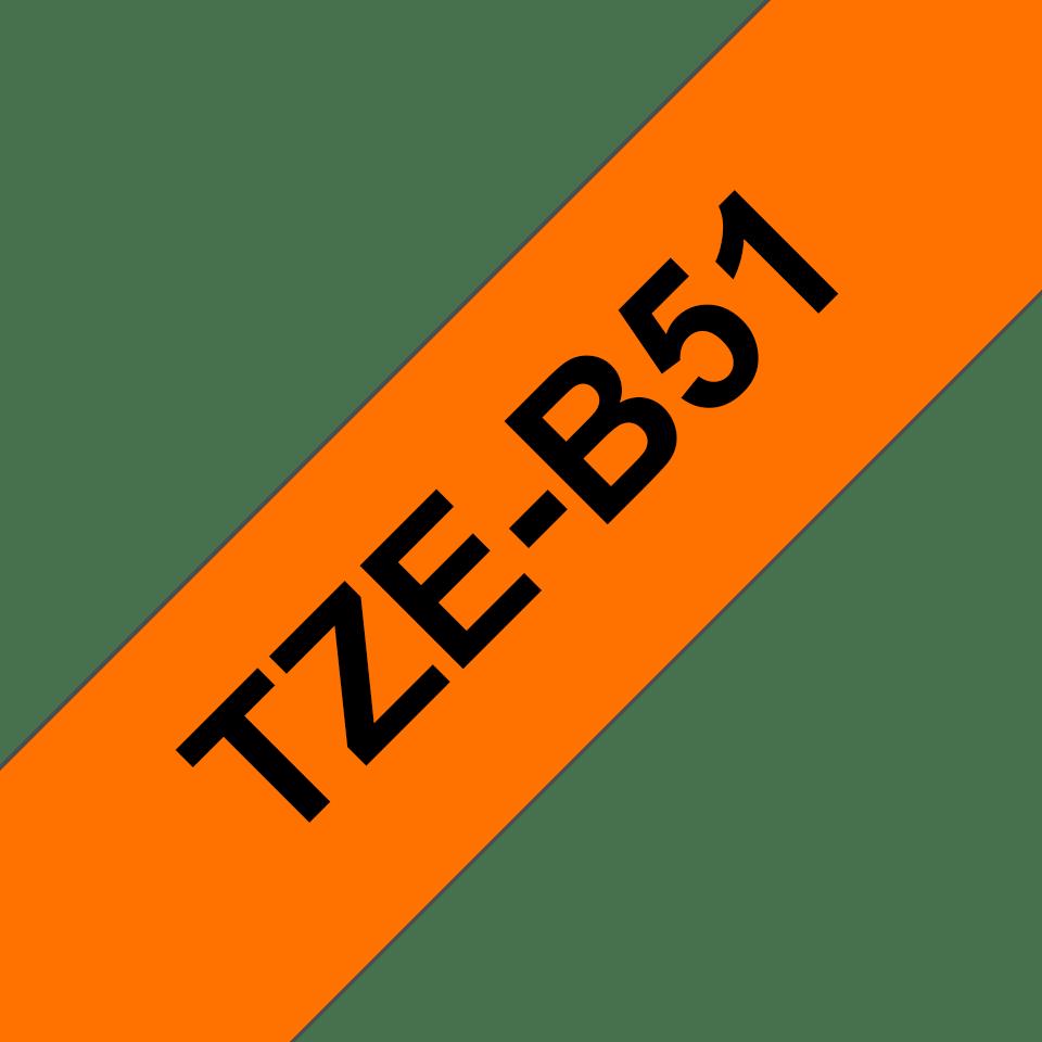 Alkuperäinen Brother TZeB51 -tarranauha – musta teksti neonoranssilla pohjalla, 24 mm