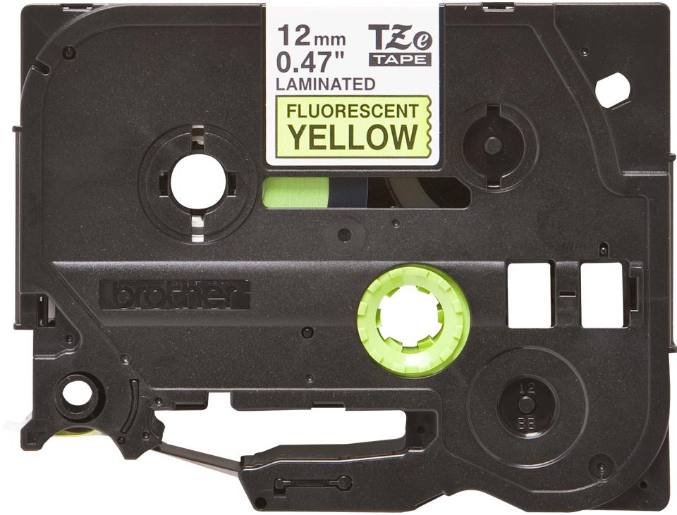 Alkuperäinen Brother TZeC31 -tarranauha – musta teksti neonkeltaisella pohjalla, 12 mm 2