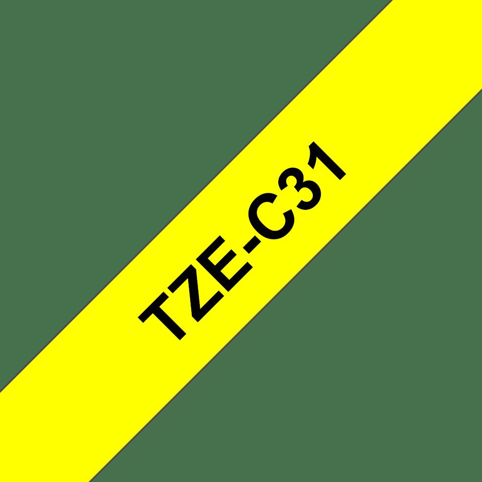 Alkuperäinen Brother TZeC31 -tarranauha – neonkeltainen pohjaväri, leveys 12 mm 3