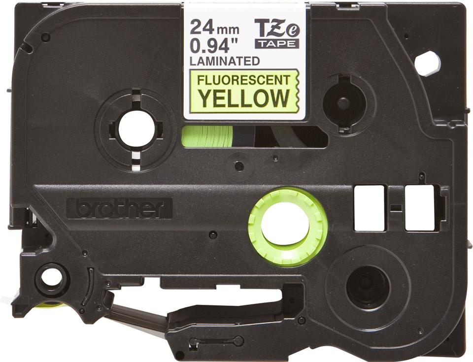 Alkuperäinen Brother TZeC51-tarranauha – musta teksti neonkeltaisella pohjalla, 24 mm 2