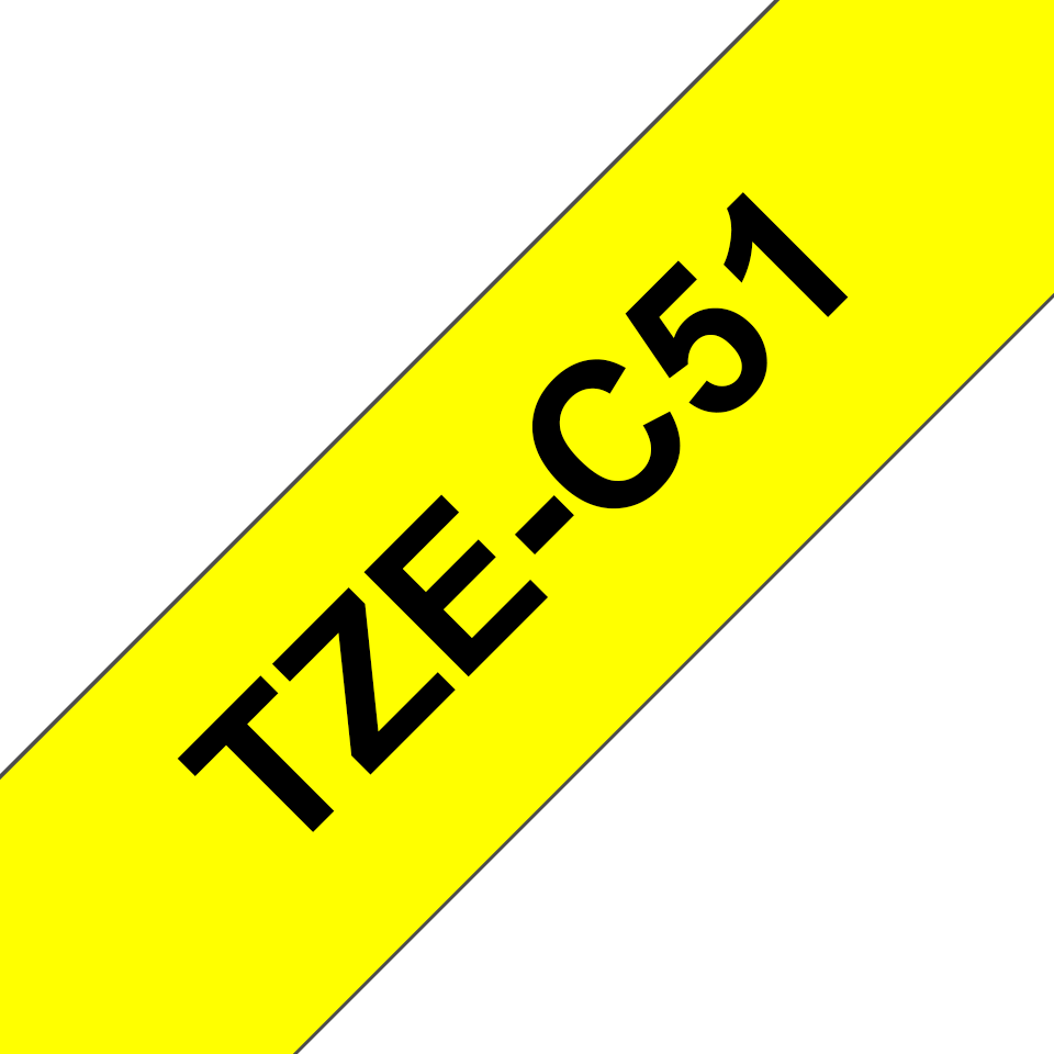 Alkuperäinen Brother TZeC51-tarranauha – musta teksti neonkeltaisella pohjalla, 24 mm 3